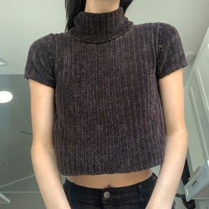 DKNY brown knit crop top sweater